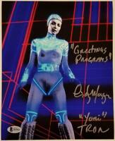 "CINDY MORGAN Signed TRON 8x10 Photo ""Greetings Program!"" #2~ Beckett BAS COA"