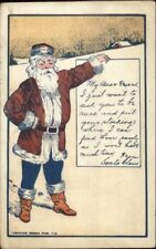 Christmas - Santa Claus Holding Sign About Stockings c1910 Postcard