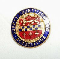 VINTAGE ENAMEL SURREY COUNTY BOWLING ASSOCIATION BROOCH / BADGE / PIN