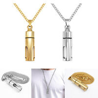 Urn Pendant Necklace Tube Vial Chain Memorial Buddhist Mantra Jewelry 2 Colors