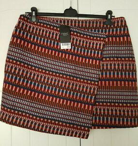 NEXT Wrap SKIRT BNWT Check Burgundy Blue Brown Lined Zip UK 16 Wool Look Knit