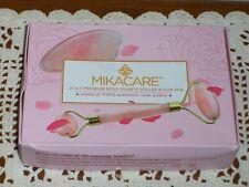 Mikacare 2 in 1 Rose Quartz Roller and Gua Sha Jade face Roller Alternative