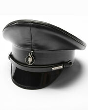 Punk Rave Mens Steampunk Army Cap Gothic Military Hat Black Faux Leather LARP
