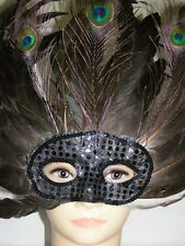 Beautiful Peacock Feather Party Mask, Very  Attractive Black Colour !