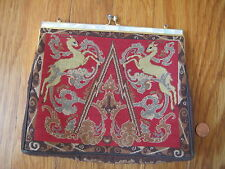 vtg Petit Point UNICORN PURSE Hong Kong silk handbag horse goat animal antique