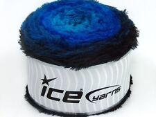 250 gr ICE YARNS CAKES FUR Hand Knitting Yarn Black Blue Shades
