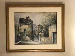 Vtg Lucien Delarue French Impressionist signed watercolor painting Paris scene