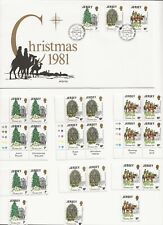 "1981 Jersey - ""Christmas"" - Fdc + 3 Blk/4 + 3 Pair + 3 Single + Info Sheet"