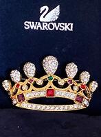 Swarovski Swan Signed Pave Crystal Crown   Brooch Pin