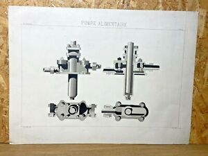 Drawing Antique Original 19th - Study, Machinery, Pump Food, 1892