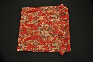 VTG Irregular Ralph Lauren Queen Flat Bedsheet Red Floral Marseilles Danielle