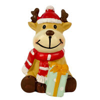 2″ Christmas Village Figurine Hand Crafted Décor House Resin Santa Reindeer