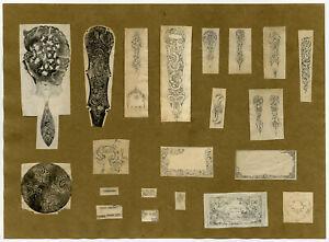 2 Antique Drawings-DESIGN-SILVERWARE-CUTLERY-BREDA-Anonymous-ca. 1850