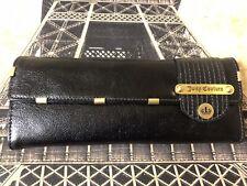 NEW Juicy Couture MAD MONEY Women's Black Leather LONG CLUTCH Handbag Wallet