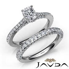 2.85ctw Pavé Aprox. Halo Novia Almohadón Anillo de Compromiso Diamante GIA H-VS2