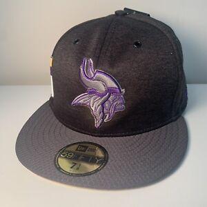 Minnesota Vikings New Era 59Fifty Hat Cap Home Side Stripes Custom Black 7 1/8