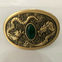 Belts Accessories  Pure Brass Shiny Vintage Antique Belt Buckle Dragon Jade DIY