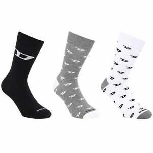 DIESEL 3 Pack SKM-RAY Socks, Black/Grey/White Logo 'D' Print