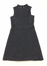 Women's THEORY Sz 2 Navy Geometric Print Sleeveless Retro Look A-Line Dress