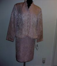 MAGGY LONDON WOMEN'S PINK EMBOSSED FULLY LINED SKIRT SUIT SIZE 12 NWT
