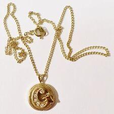 pendentif chaine bijou vintage lettre C couleur or orné cristaux diamant * 3602