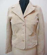 Beige Suede Leather Jacket Womens M