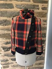 L.A.M.B. Gwen Stefani Red Plaid Lambswool Bomber Jacket Fall 2008, Size 8, EUC!