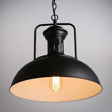 Black Vintage Industrial Metal Pot Cover Shape Ceiling Pendant Light  Chandelier