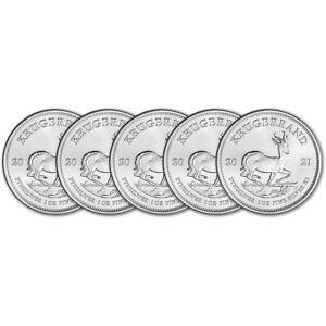 2021 South Africa Silver Krugerrand 1 oz 1 Rand - BU Five 5 Coins