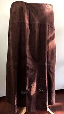 $129 COLDWATER CREEK Womens Petite M Cutout Chocolate Brown Suede Full Skirt NWT