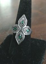 Fashion Jewelry Silver/Green Cross Ring  Size Large 8-9