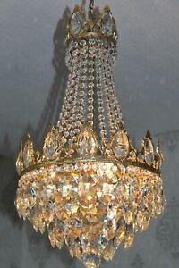 Prächtiger antiker Franz. Messing Kristall Korblüster Lüster Kronleuchter Lampe