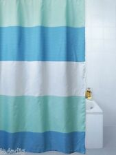 Horizon Bold Stripe Polyester Shower Curtain 180 X 180cm -blue Cream or Grey Blue