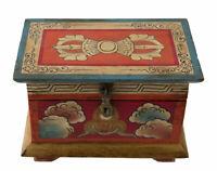 Scatola Cofanetto Tibetano Buddista Varja Conch E Lotus Nepal 20cm 4041