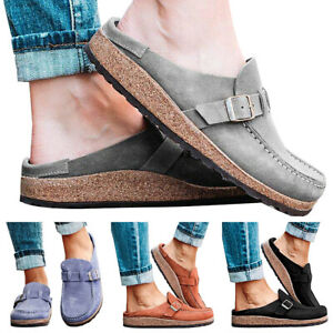 Women Slip On Trainers Loafers Casual Sports Backless Flat Beach Work Shoes Size