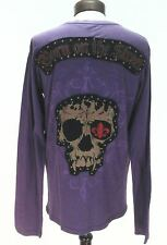 Smet By Christian Audigier Mens Deadstock T-Shirt Studs Patch Skull L New Rare