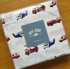 Boy Zone FIRE TRUCK Rescue Helicopter FULL SHEET SET Ambulance BLUE RED COTTON