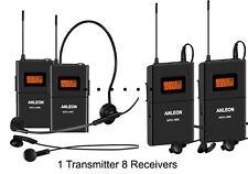 ANLEON Wireless Tour Guide System Teaching Train Visit church 8 Receivers