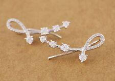 925 Sterling Silver Charming Shine CZ Cuff Climber Crawler Earrings A1248