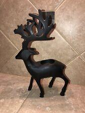 Black Metal Reindeer Tealight Candle Holder
