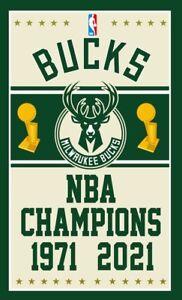 2021 NBA Finals Champions Milwaukee Bucks 3x5 Banner Flag Giannis