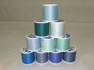 Lot of 10 Coats & Clark All Purpose Thread~135 Yd~Shades of Blue & Green
