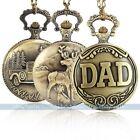 Antique Vintage Bronze Tone Men Pocket Chain Quartz Pendant Watch Necklace NEW