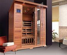 Sauna Infrarossi 150x115 Legno Cedro Rosso 3 persone porta a vetro cromoterapia
