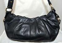 Simply Vera by Vera Wang Black Pebbled Leather Shoulder Bag with Gathered Top