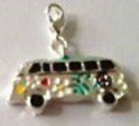 LOVELY PEACE VAN FLAT SIDED  CLIP ON CHARM FOR BRACELETS - SILVER PLATE - NEW