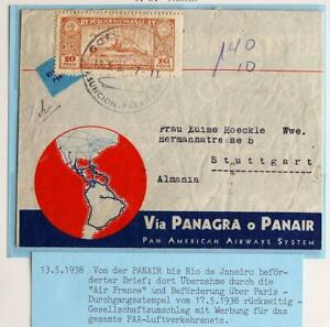 PARAGUAY to GERMANY 1938 PANAIR Com Flight Airmail Picture Cover LOOK , Aviation