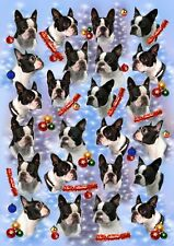 Boston Terrier Dog Christmas Gift Wrapping Paper - by Starprint