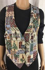 Backroad Blues Christmas Multi-Color Vest Womens Size S See Photo of Tags No Fur