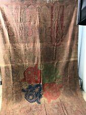 "Antique Scottish wool jacquard paisley shawl 4 color center 62 x 120"""